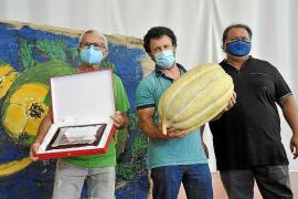 Bernat Andreu und Sebastià Jaume mit der Siegerplakette und ihrer Megamelone neben den Bürgermeister des Dorfes Montserrat Rosselló.