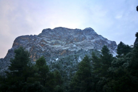 Schneefall an Weihnachten im Gebirge auf Mallorca