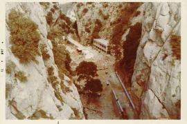 Die Bauarbeiten in der Schlucht des Gorg Blau zu Beginn der 70er Jahre