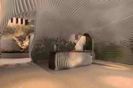 Der Eingangbereich innen: Geschwungene Lamellenformen mit begrünten Zwischenräumen sorgen für gutes Raumklima.