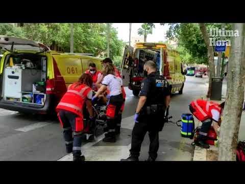 Frau in Palma de Mallorca nahe Plaça d'Espanya von Bus angefahren