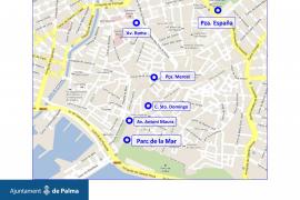 Die sechs Standorte, an denen es in Zukunft öffentliche Toiletten geben soll.