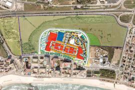 Das Einkaufszentrum soll 90.000 der 330.000 Quadratmeter des Grundstücks umfassen. Am rechten Bildrand: das Palma Aquarium.