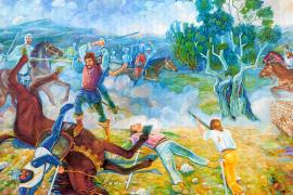 Der Historiker und Maler Guillem Morro Veny illustriert die Kämpfe zwischen den aufständischen Mallorquinern und den königlichen