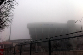 Das Fußballstadion Iberostar Estadi in Palma lag ebenfalls im Nebel.