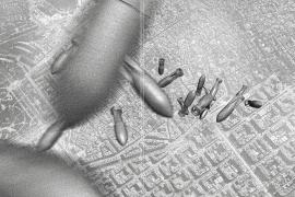 Die historische Aufnahme dokumentiert einen Bombenabwurf auf Barcelona.