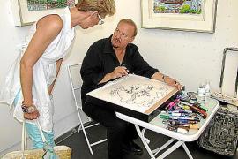 Besonderes Souvenir: Charles Fazzino wurde für die Fans seiner Kunst auch in der Galerie Mensing kreativ tätig.