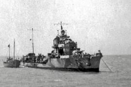 """Die """"Orsa"""", ohne Treibstoff, wurde nach Palma geschleppt und blieb dort bis Kriegsende."""
