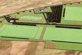 Auf dem Entwurf der Anlage sind die drei Polofelder und der Trainingsplatz deutlich zu erkennen.