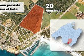Die braune Fläche der Grafik zeigt, wo die umstrittenen 21 Hektar Bauland in Sa Ràpita (nicht 20!) ausgewiesen wurden.