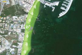 Die hellgrün markierte Zone zeigt den WLAN-fähigen Bereich in Port de Pollença.