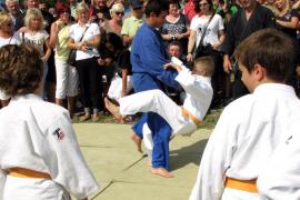 Peter Maffays Sohn Yaris (der hier gerade in der Luft hängt) hatte einen Auftritt mit seiner Judo-Gruppe.