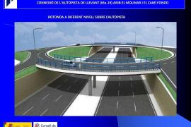 So wird der erhöhte Kreisverkehr über der Autobahn Palma-Flughafen bei der Ausfahrt El Molinar aussehen.