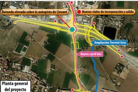 Geplante Ausfahrt für El Molinar an der Autobahn Palma-Flughafen.