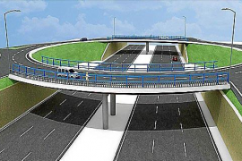 Über der Flughafenautobahn wird ein neuer Kreisverkehr gebaut.
