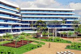 Das Vier-Sterne-plus-Hotel Hipotels Gran Playa de Palma wird 380 Zimmer haben und im März 2016 in Betrieb gehen. Fotomontage: Hi