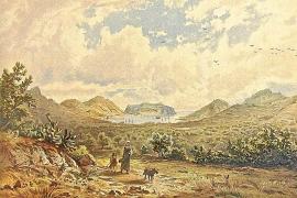 Die Landschaftszeichnungen von Erzherzog Ludwig Salvator sind sehr detailgetreu. Hier ein Blick auf Port d'Andratx damals und he