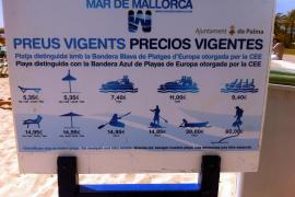 Die Preise für das Strandangebot vor dem Ballermann 8.