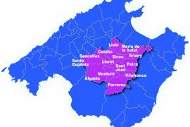 Die Grafik zeigt die Gemeinden des überkommunalen Verbandes der zentralmallorquinischen Inselebene, die sogenannte Mancomunitat