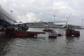 Auch am Flughafen von Palma stand das Rollfeld zeitweise unter Wasser.