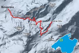 Karte 3: Die Schlucht Barranc de Biniaraix.
