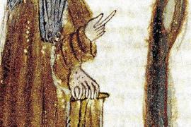 """In dieser Abbildung zeigt Ramon Llull auf den """"Baum des Wissens"""". So hieß eine Fassung seiner """"Kunst"""", die er in Rom verfasste."""