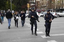Polizeipräsenz in Palma de Mallorca.