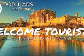 Mallorca-Touristen willkommen geheißen