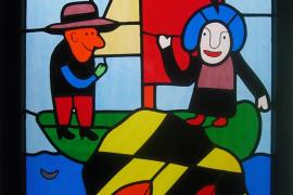 Gustavo-Kirchenfenster mit Menschenfischer-Motiv.