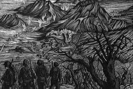Diese Arbeit Rudolph von Rippers zeigt den Vormarsch der Alliierten im Zweiten Weltkrieg am Monte Cassino in Italien.
