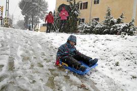 In Bunyola im Westen von Mallorca nutzten die Schulkinder den schneefreien Dienstag zum Rodeln.