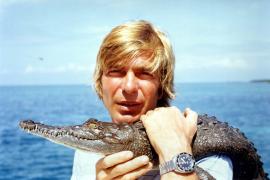 """Mit einem Alligator auf der """"Schatzinsel""""."""