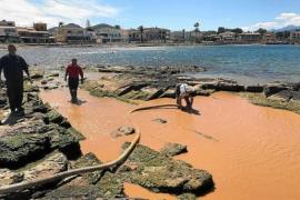 Arbeiter pumpen verdrecktes Meerwasser bei Alcúdia ab