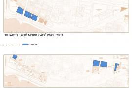 Die Grafik macht deutlich: Endesa erhält die blauen Parzellen von 2003 zurück. Die Stadt wird wiederum Besitzerin der blauen Flä