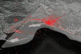 """Jeder rote Punkt zeigt per Geodaten den Standort des Fotografierenden. Neben dem Stadtzentrum von Palma sind als """"Hot Spots"""" deu"""
