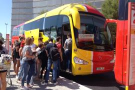 Die gelb-roten Busse des Aerotib verkehren zwischen dem Flughafen Palma und den touristischen Küstenorten auf Mallorca.