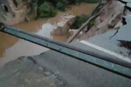 Straße nach Colònia de Sant Pere weggeschwemmt