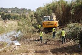 Baggerarbeiten im Überflutungsgebiet auf Mallorca.