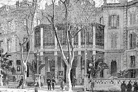Drei Gebäude, die von 1902 bis 1968 ein Jugendstil-Ensemble bildeten (v.l.): Bar Alhambra, Teatre Lírico, Hotel Alhambra. Heute