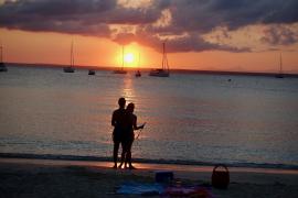Sonnenuntergang an der Platja Es Coto.