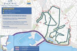 Diese Straßen sind anlässlich das Zafiro Palma Marathons gesperrt