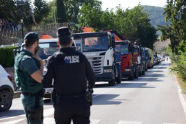 Lkw- und Baggerprotest gegen Trockendock-Aus in Andratx