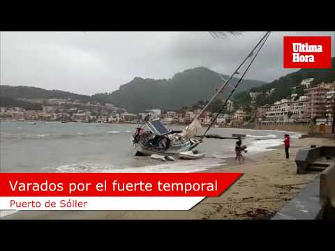 Segelschiff strandet in Port de Sóller wegen Unwetters