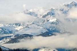 Blick auf Schneeberge.
