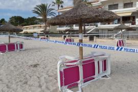 Die Liegen am Strand von Alcúdia stehen schon bereit